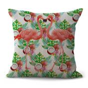 Cushion Cover 2pcs Does Not Contain Core Cotton Pillowcase Sofa Flamingo Cushion Auto Bedroom Home Decor,D