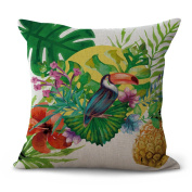 Cushion Cover Sofa Pillowcase 2pcs Does Not Contain Core Flamingo Pattern Flower Cotton Cosy Home Decoration Hotel Bedroom,F