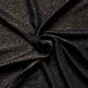 Black Fine Knit Jersey Fabric with Gold Sparkle