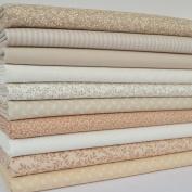 100% cotton fabric bundles beige & ivory print florals 25cm x 25cm or FQ bundle