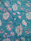Handicraftofpinkcity green colour blue flower Designer Hand Block Printed Cotton Fabric Indian Stylish Printed Fabric Craft Material Curtains Dressing 5 Yards