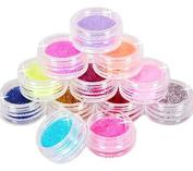 PriMI 12pcs Nail Art Tips Design Decoration Glitter Powder
