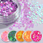 SO-buts 6Color Round Sequins Dazzling Sticker Colourful Nail Art Decoration