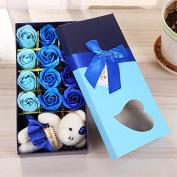 HOMEE 12 Soap Flowers Creative Simulation Rose Soap Flower Christmas Valentine'S Day Birthday Wedding Gift,Blue bear,23cm * 11.5cm * 4.5