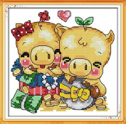 Chreey Cartoon Pigs Series - Lovely Pig Cross Stitch Fashion Crafts Home Art Decoration [17x17cm]
