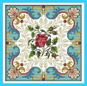 Chreey Gorgeous Flowers Series - Rose Heart Cross Stitch Fashion Crafts Home Art Decoration [30x30cm]