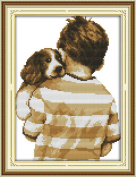 Chreey Dog & Its Owner Series - The Dog with Master Cross Stitch Fashion Crafts Home Art Decoration [22x31cm]