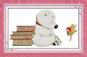 Chreey Cute Puppy Series - A Lovely White Dog Cross Stitch Fashion Crafts Home Art Decoration [44x28cm]