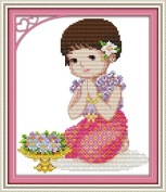 Chreey When the Baby is Alone Series - Prayer Cross Stitch Fashion Crafts Home Art Decoration [21x27cm]