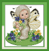 Chreey Animal Baby Series - Lovely Little Baby Butterfly Cross Stitch Fashion Crafts Home Art Decoration [19x20cm]