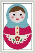 Chreey Cartoon Russia Dolls - Ethnic Style Cross Stitch Fashion Crafts Art Decoration [20x32cm]