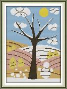 Chreey Four Seasons Tree Scenery Cross Stitch Fashion Crafts Home Art Decoration [26*33cm]