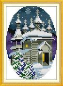 Chreey Four Seasons Winter Castle Scenery Cross Stitch Fashion Crafts Home Art Decoration [15*20cm]