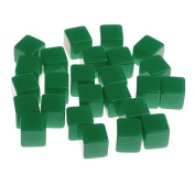 MagiDeal Pack of 25 Six Sided Square Opaque Dice Set Resin Card Game for D & D TRPG Toy - Green, 12mm