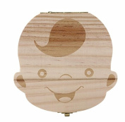 Kingken Wooden Baby Boy Tooth Memory Box Teeth Organiser Box Storage Souvenir Box