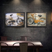 WANGHH Creative Bicycles Guadu Retro Decoration Painting Bar Stereo Wall Decoration Painting,Gold-80*60