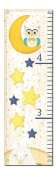 Bedtime Child's Growth Chart; Childrens Room or Nursery Decor; One 30x107cm Canvas Chart. Yellow/Blue