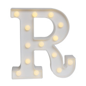 GB UNICORN Wall Letters Light At Symbol Battery Marquee Letter Lights Alphabet Light Up Sign for Wedding Home Party Bar Decoration(White R)