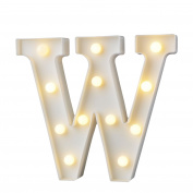GB UNICORN Wall Letters Light At Symbol Battery Marquee Letter Lights Alphabet Light Up Sign for Wedding Home Party Bar Decoration(White W)