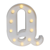 GB UNICORN Wall Letters Light At Symbol Battery Marquee Letter Lights Alphabet Light Up Sign for Wedding Home Party Bar Decoration(White Q)