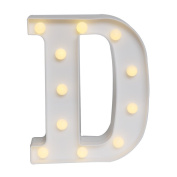 GB UNICORN Wall Letters Light At Symbol Battery Marquee Letter Lights Alphabet Light Up Sign for Wedding Home Party Bar Decoration(White D)