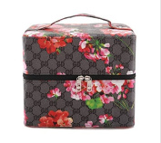 zeuxs Portable printing double cosmetic bag cosmetic storage bag (Black)