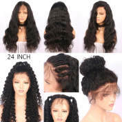 Niceyo 60cm Black Hair Wig Glueless Long Wave Natural Lace Front Hairline