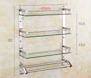 Bathroom Shelf / 304 Stainless Steel Bathroom Glass Shelf Wall-mounted Size:40*12*60cm , 50*12*60cm , 60*12*60cm