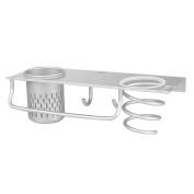 Bathroom Organiser Collection Shelf Storage Rack / Flat Panel & Hair Dryer Holder & Canister & Towel Hooks