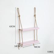 LNPP DIY Iron Wall Rack For Bathroom Kitchen Storage Bookshelf Wall Hanging Home Decor , two layer pink