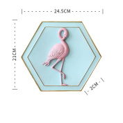 LNPP Flamingo Wall Decor Resin Painting Wall Hanging Home Living Room Decoraction,21.5*24cm , B