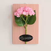 LNPP Artificial Flowers +Pink Wood Board Creative Home Decor Wall Hanging,7*28cm , A