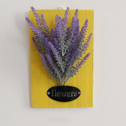LNPP Artificial Flowers + Yellow Wood Board Creative Home Decor Wall Hanging,7*28cm , A