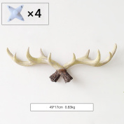 LNPP American Antlers Resin Retro Hooks Wall Hanging Home Decoration,49*17cm , B