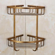 Full Copper Bathroom Toilet Hanging Storage Angle Basket Shelf Single Double Layer with Hook Hardware Accessories , double layers with hook