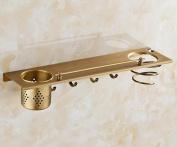 Full Copper Wall Hanging Storage Rack Bathroom Shower Room Toilet Hairdryer Hardware Accessories , 4 hooks