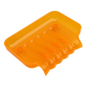 Gluckliy Clear Plastic Soap Waterfall Drain Tray Soap Dish Holder with Suction Cup Bathroom Accessories, Orange