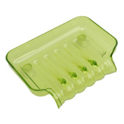 Gluckliy Clear Plastic Soap Waterfall Drain Tray Soap Dish Holder with Suction Cup Bathroom Accessories, Green