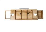 Bathtub Tray Bamboo Bathtub Caddy, Wooden Bathroom Rack, Over The Tub Storage Tray, Bathtub Caddy with Wine Rack and iPad Holder/Book Rest.