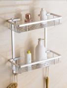 Extremely Firm Shower Shelf Space Aluminium Frame Double Shelves Bathroom Hardware Pendant Aluminium Plate Frame Two-story Solid Frame Shelves ensuring quality