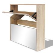 Festnight 2 Tiers Shoe Cabinet Wooden Shoe Storage Cupboard with 2 Drawers Mirror 63 x 17 x 67 cm