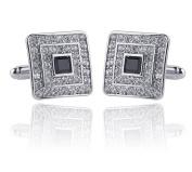 Qinlee Men Cufflinks Fashion Personality Square Crystal Cuff Links For Dress Business Wedding Shirt Cufflinks Gift Present Cufflink