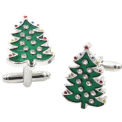 Qinlee Men Cufflinks Fashion Personality Green Christmas Tree Cuff Links For Dress Business Wedding Shirt Cufflinks Gift Present