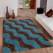 Allstar Brown Shaggy Area Rug with 3D Light Blue Wavy Design. Contemporary Tween Hand Tufted