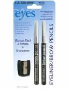 LA Colours Eyeliner, Brow Pencil & Sharpener, Black