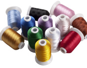 Simthreads 12 Brother Colours Polyester Embroidery Thread, 1100 Yrds Each