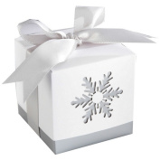 """Zimo Wedding Candy Boxes """"Winter Dreams"""" White Laser-Cut Snowflake Wedding Favours Gifts,Pack of 12"""