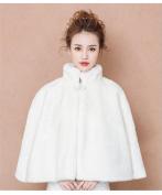 Bride'S Warm Shawl Winter Wedding Ride Wedding Dress Slits Cape Jacket / Scarf White
