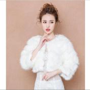Bride'S Warm Shawl Winter Wedding Party Outside Ride Wedding Dress Long Sleeve Cloak Coat / Scarf White