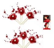 OLIOU Flower U Shape Wedding Hairpin for Bridal Hair Accessories - Red